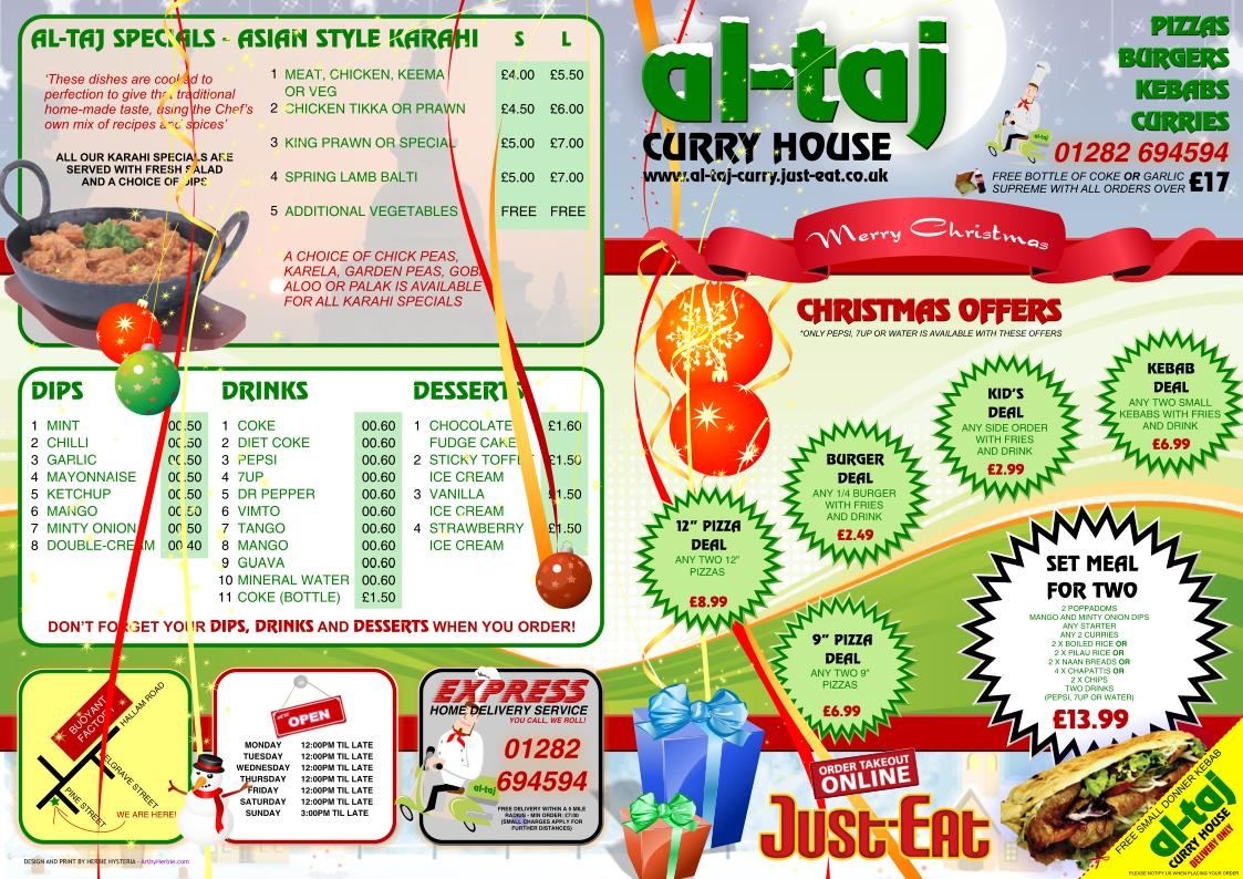Al-Taj Christmas Menu - Front and Back